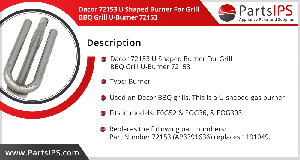 Dacor 72153 U Shaped Burner For Grill