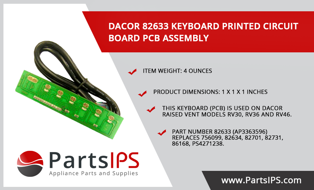 Dacor 82633 Keyboard Printed Circuit Board Pcb Assembly