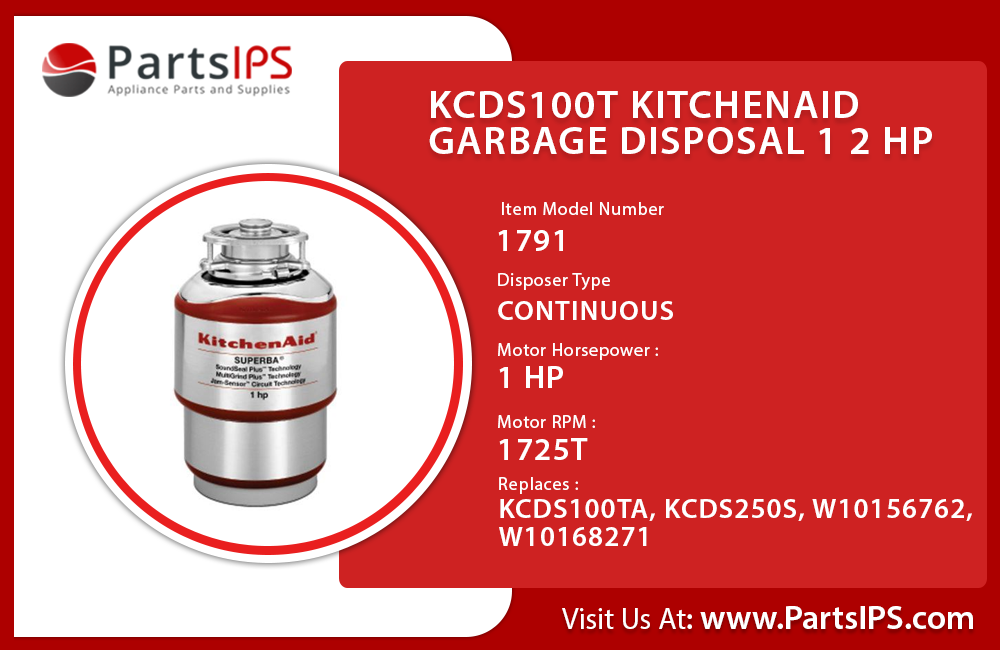 KCDS100T Kitchenaid Garbage Disposal 1 2 HP