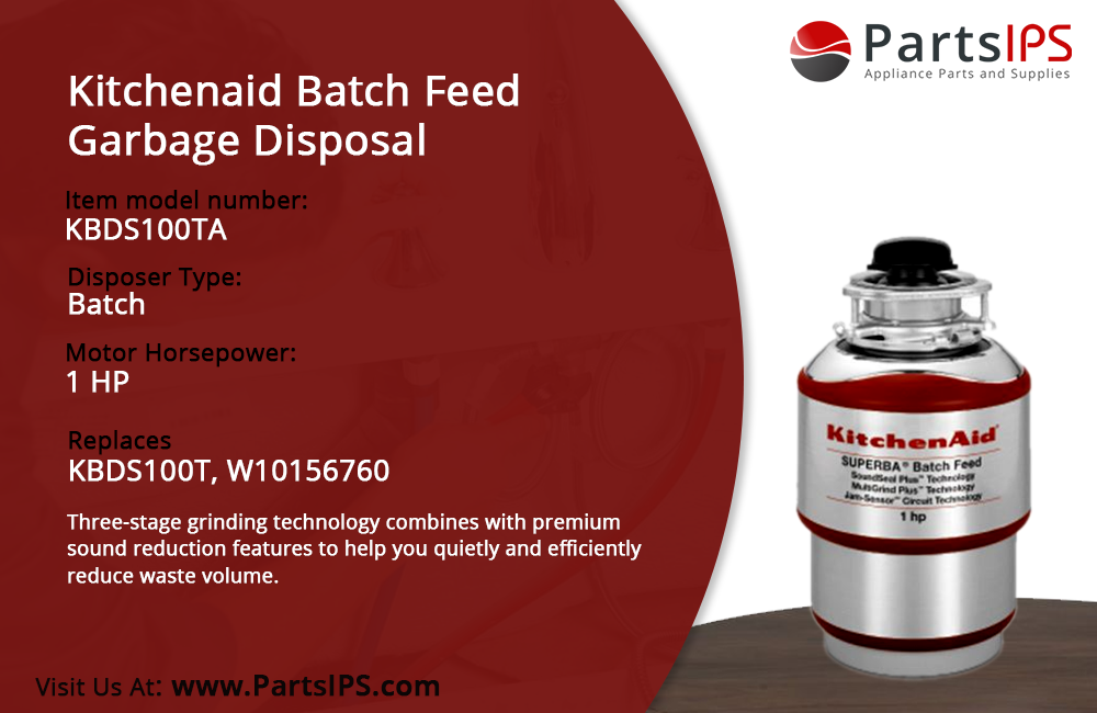Kitchenaid Batch Feed Garbage Disposal KBDS100TA