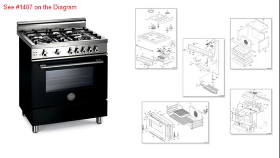 Picture of Bertazzoni Range Stove Oven DOOR GLASS - Part# 406396