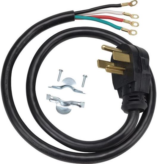 Picture of 4' 30 AMP 4 WIRE CLOTHES DRYER POWER CORD By GE General Electric Hotpoint - Part# WX09X10018