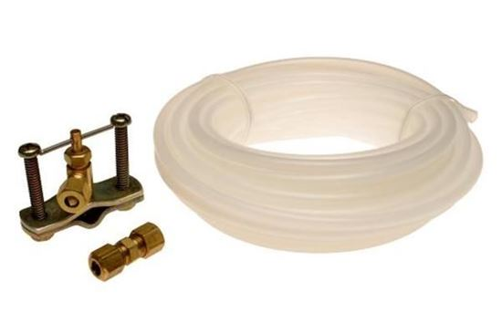 """Picture of 1/4"""" x 25' Refrigerator Ice Maker Install Polyethylene Tubing Kit W/Piercing Valve and 1/4"""" Brass Union - Part# 48362"""