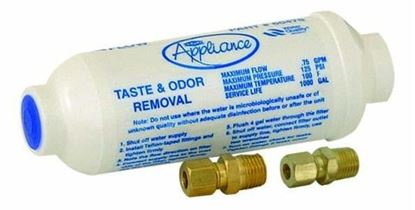 """Picture of 6"""" Universal Refrigerator In-Line Water Filter W/Brass Fittings - Part# 60476"""