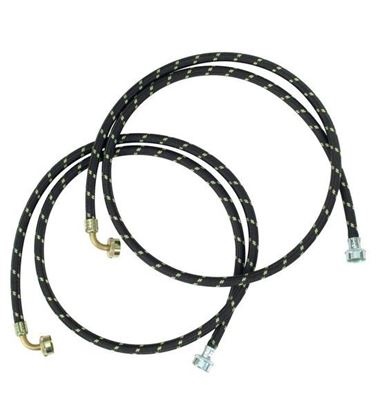 Picture of 6' 90 Deg. Gooseneck Nylon Braid Clothes Washer Washing Machine Fill Hose Kit - 2 Pack - by Whirlpool Maytag - Part# 8212638RC