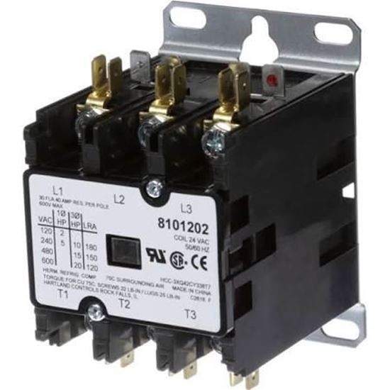 Picture of 1 POLE 40A 24V CONTACTOR - Part# ELE1P40A24V