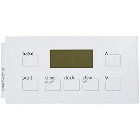 Frigidaire Electrolux Kelvinator Westinghouse Tappan Okeefe and Merrit  Sears Kenmore Stove Range Oven Clock Control OVERLAY - White - Part#  316220722