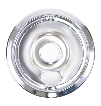 "Picture of GE General Electric Hotpoint Sears Kenmore Range Stove Cook Top 6"" DRIP BOWL CHROME REAR BUBBLE - Part# WB31M16"